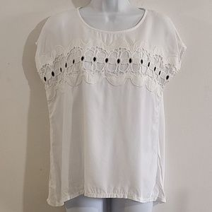 LOFT Ann Taylor white embellished blouse Small